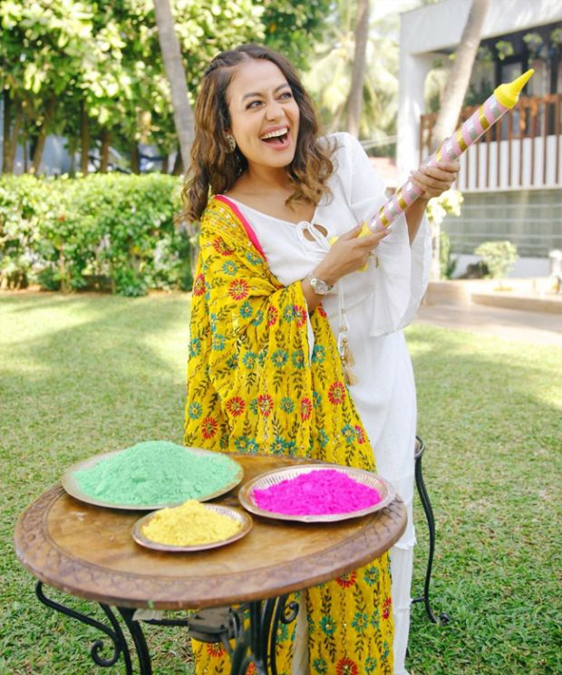Cheerful Singer Neha Kakkar Celebrating Holi