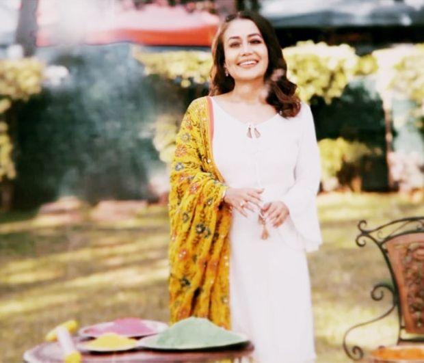 Cheerful Singer Neha Kakkar Celebrating Holi