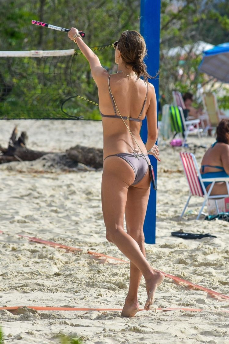 Alessandra Ambrosio Playing Tennis In Bikini On The Beach In Florianopolis