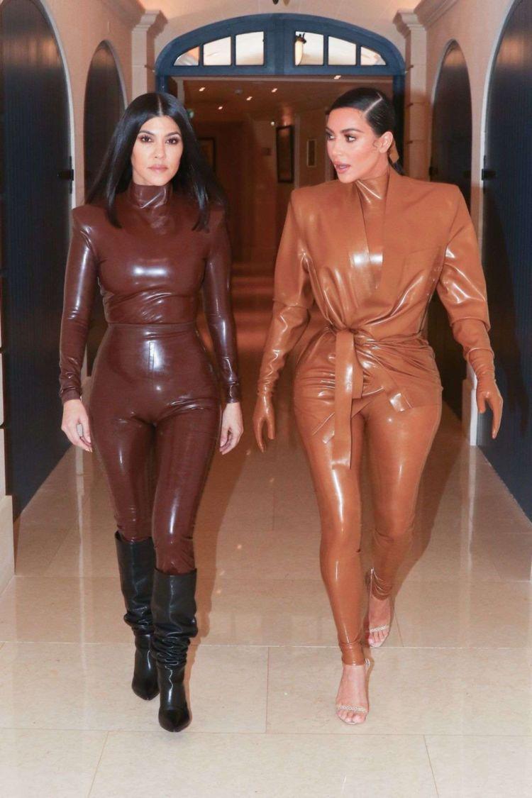 Kim Kardashian in leather outfit