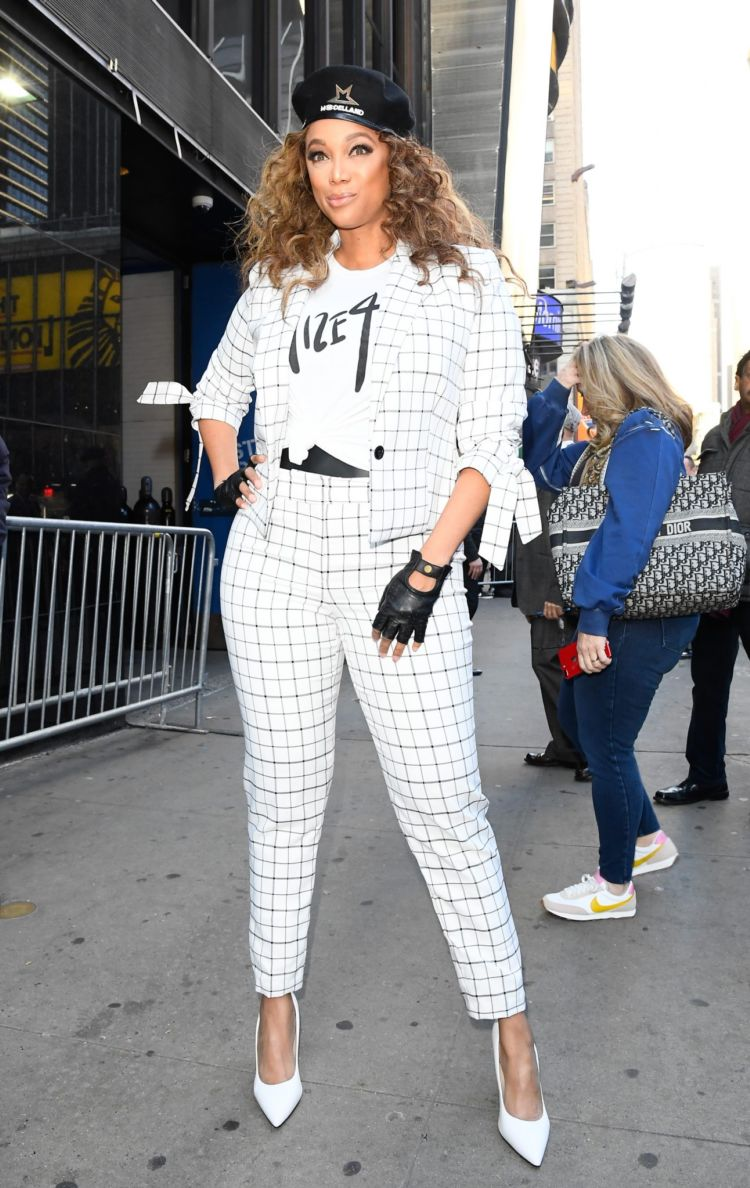 Tyra Banks Greets Her Fans Outside Good Morning America In New York