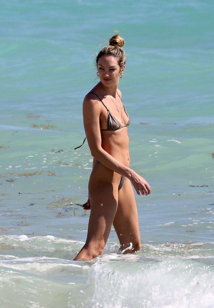 Candice Swanepoel Vacationing In A Bikini On The Beach In Miami