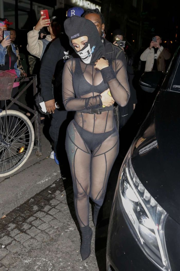Cardi B In A Black Outfit At Laundered Works Corp Fashion Show In Paris