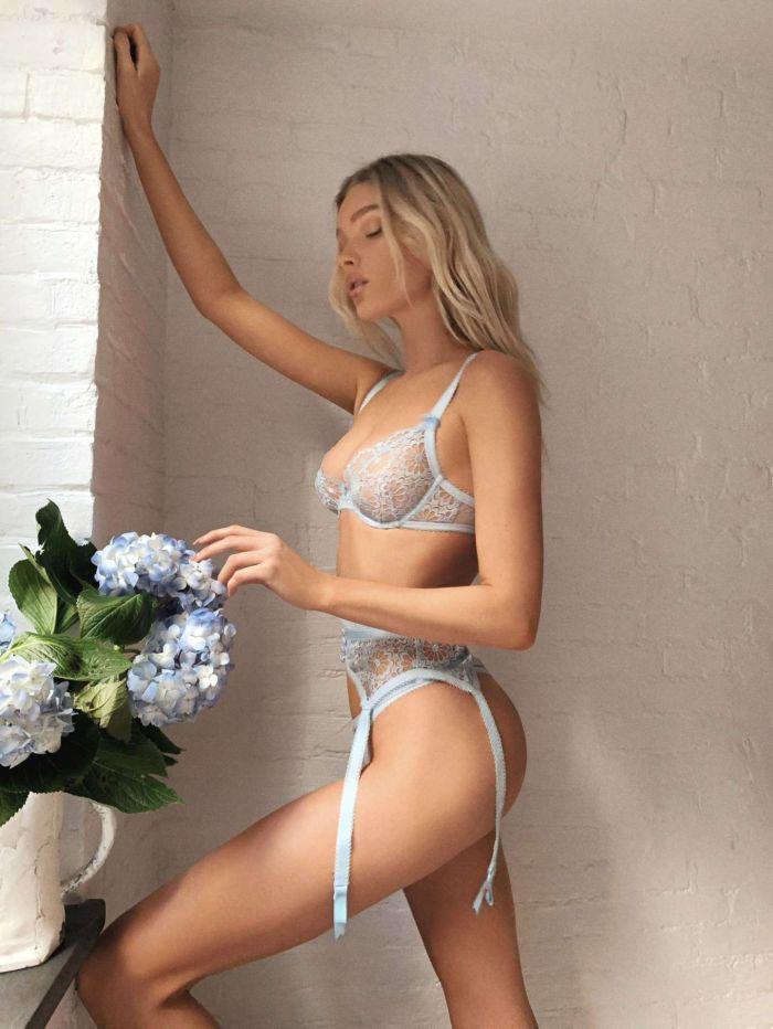 Elsa Hosk Poses In Lingerie For Victoria's Secret x For Love & Lemons Campaign 2020