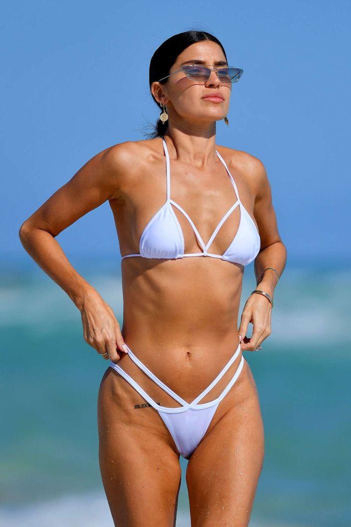 Nicole Williams Photoshoot In A White Bikini At Miami Beach